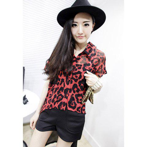 Lapel Leopard Print High-Low Hem Short Sleeve Chiffon Women's Shirt - RED ONE SIZE