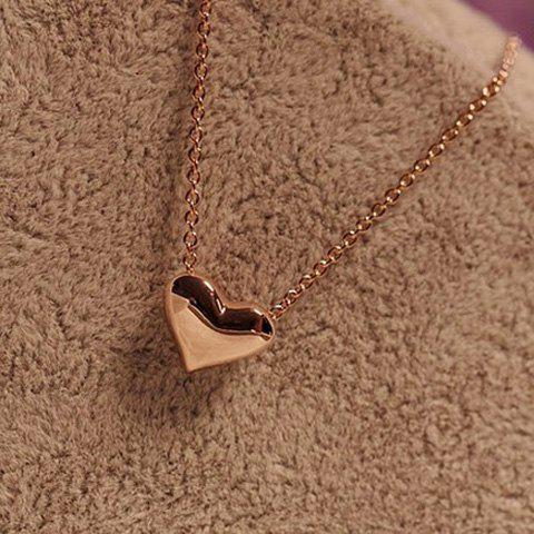 Sweet Style Heart Shape Pendant Golden Necklace - GOLD
