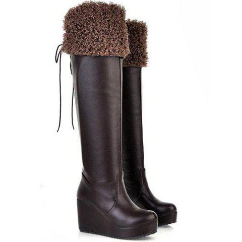 Casual Solid Color Wedge Heel Bow Design Women's Knee Boots - BROWN 37