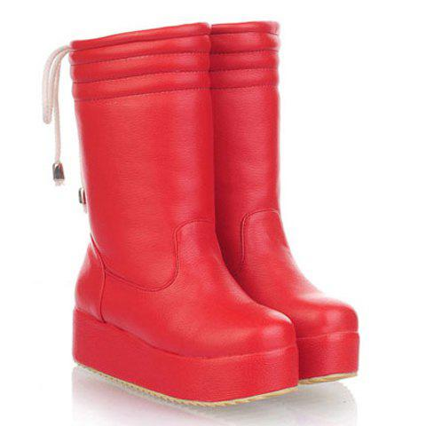 New Arrivals Solid Color and Bowknot Design Women's Mid-Calf Boots - RED 39