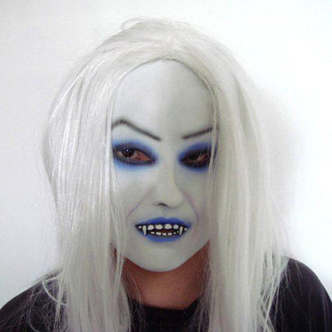 Top Grade Scary White Hair Ghost Mask For Halloween Party halloween costumes scary centipede ghost mask skeleton patterned coat set black white red