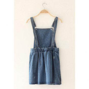 Retro Style Scratch Design Sleeveless Blue Jeans Women's Dress - BLUE ONE SIZE