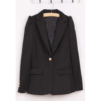 Simple Lapel Collar Long Puff Sleeves One Button Women's Black Blazer
