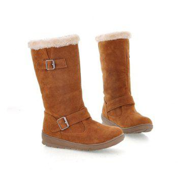 Casual Solid Color Flat Heel Belts Buckles Design Women's Snow Boots