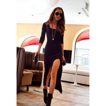 New Women's Long Sleeve Slim Irregular Asymmetric Sexy Long Dress