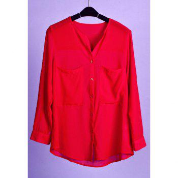 Stylish Scoop Neck Big Pocket Long Sleeve Women's Chiffon Shirt