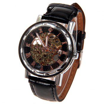 Hollow Mechanical Watch with Analog Round Dial Water Resistant Leather Watchband for Male - GOLDEN AND BLACK GOLDEN/BLACK