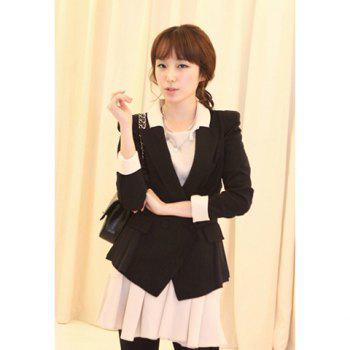 Elegant Lapel Color Block Long Sleeves Slimming Fitted Dacron Women's Blazer - BLACK BLACK