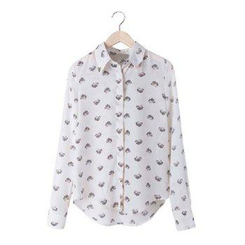 Casual Lapel Leopard Head Print and Long Sleeve Design Women's Chiffon Shirt