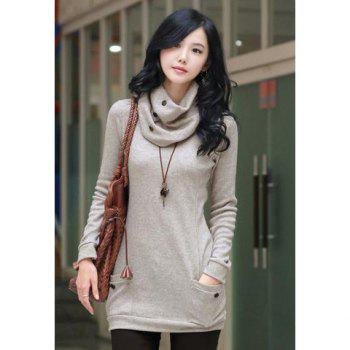 Pocket Scoop Neck Longline T Shirt with Scarf - GRAY ONE SIZE