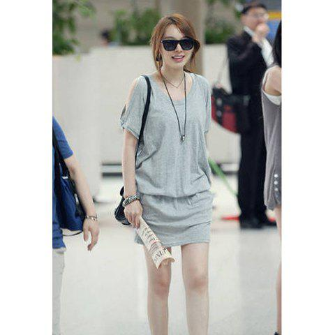 Morden Style Loose-Fitting Solid Color Unique Off-The-Shoulder Design Short Sleeves Women's Dress - GRAY M