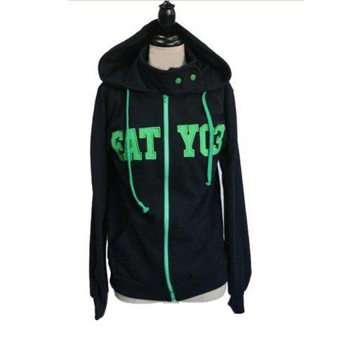 Preppy Style Hooded Zipper Design Letter Pattern Long Sleeves With Pants Cotton Blend Women's Suit - GREEN XL