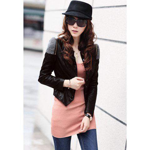 Popular Shrug PU Leather Women's Short Jacket - BLACK L