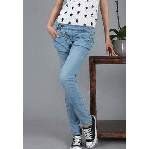 New Style Incline Buttons Design Fitted Elastic Jeans Women's Pants - LIGHT BLUE 28