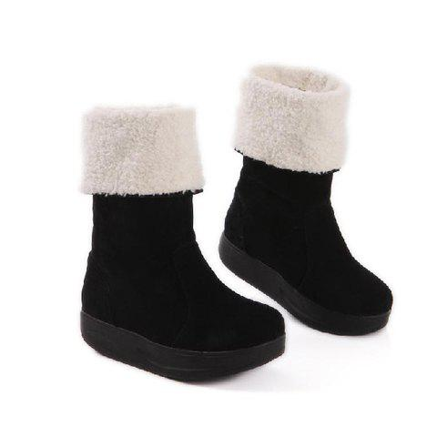 Trendy Casual Solid Color and Fleece Design Women's Knight Boots - BLACK 39