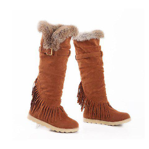 Casual Solid Color Artificial Fur Tassels Belt Design Women's Knee Boots - LIGHT BROWN 34