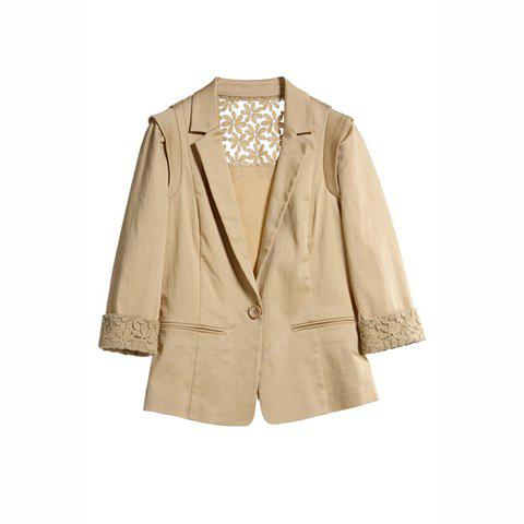 Laconic OL Style Slimming Openwork Lace Splicing 3/4 Sleeve Cotton Blend Women's Blazers - KHAKI M