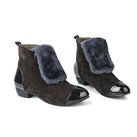 New Arrivals Casual Solid Color and Imitation Fur Design Women's Combat Boots - BROWN 39