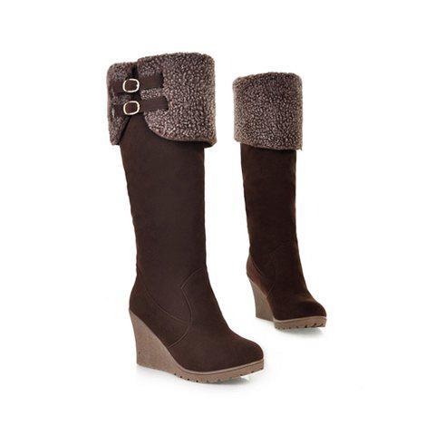 Casual Color Block and Buckle Design Wedge Heel Women's High Boots - BROWN 37