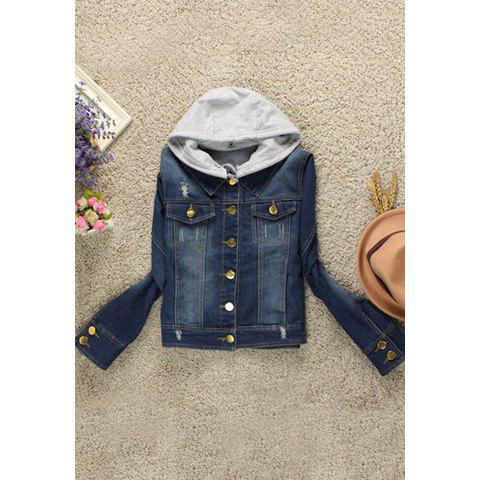 Casual Destroy Wash Hooded Women's Denim Jacket - BLUE L