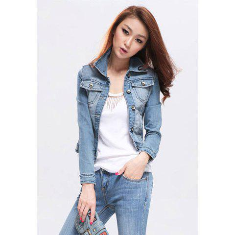 Simple Design Lapel Slimming Women's Denim Jacket - LIGHT BLUE S