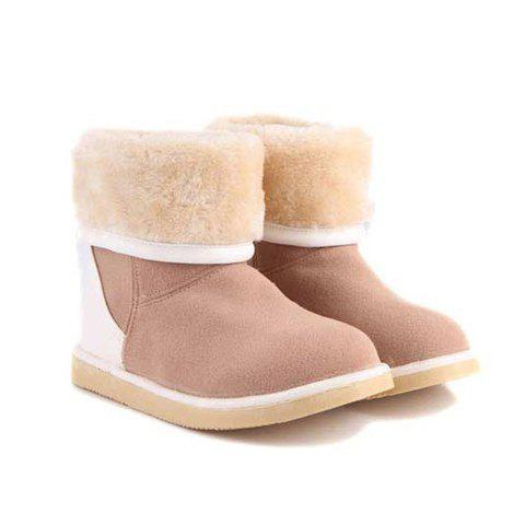 Stylish Sweet Color Splicing and Round Head Design Women's Short Boots
