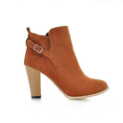 Casual Buckle and Chunky Heel Design Women's Ankle Boots - BROWN 37