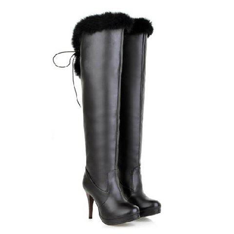 Casual Solid Color Lace-Up Cony Hair Design Women's Knee Boots - BLACK 34