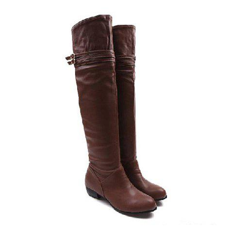 Casual Solid Color Belts Buckles Flat Heel Design Women's Knee Boots