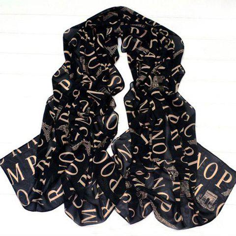 Fashion Letters and Euramerican Architectural Print Chiffon Scarf For Women - BLACK