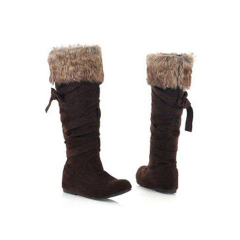Party Cross Strap and Imitation Fur Design Women's High Boots - BROWN 37