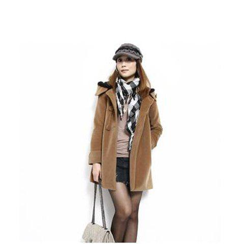 High Grade Collarless Double-Breasted Button Embellished Hooded Long Sleeve Worsted Women's Long Coat - KHAKI M