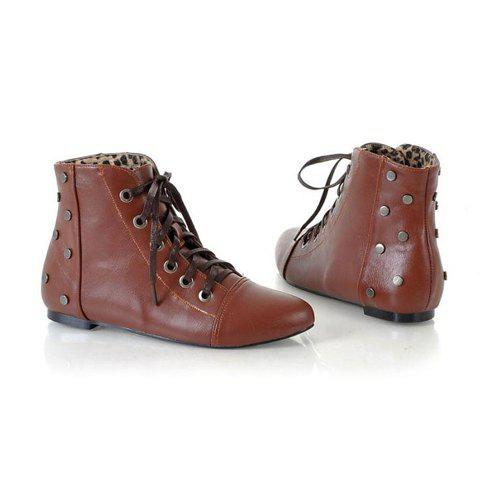Vintage Solid Color and Lace-Up Design Women's Short Boots - BROWN 35