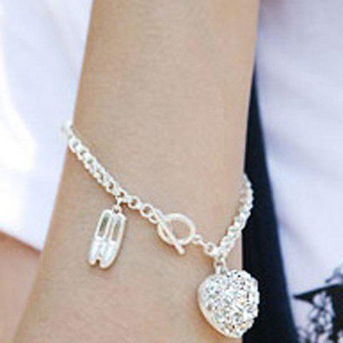 Ballet Shoes and Heart Pattern Rhinestoned Pendent Bracelet - SILVER