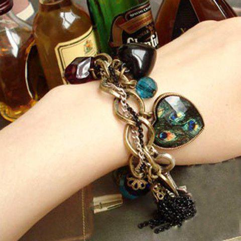 Vintage Peacock Feather Pattern Gemstone Inlaid and Mutielement Bracelet - AS THE PICTURE