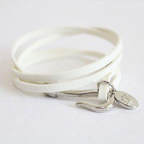 Fashionable Muti-layered and Round Shape Plate Leather Bracelet For Women - WHITE