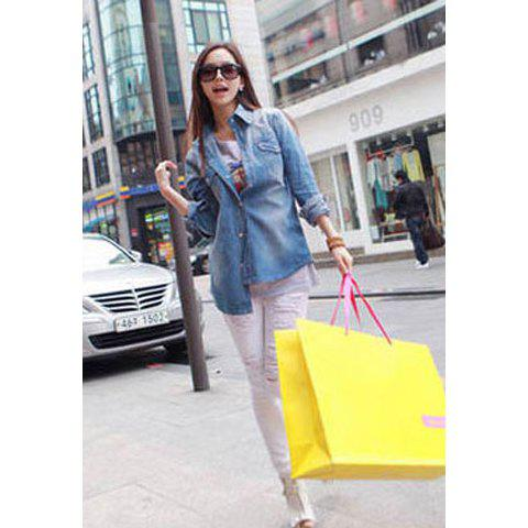 Casual Slim-Fitting Single Breasted Long Sleeve Women's Jeans Shirt - BLUE M
