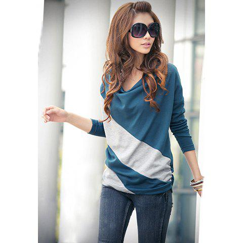Casual Style Loose-Fitting Cowls Neck Long Sleeves Cotton Blend Women's Stripe T-Shirts