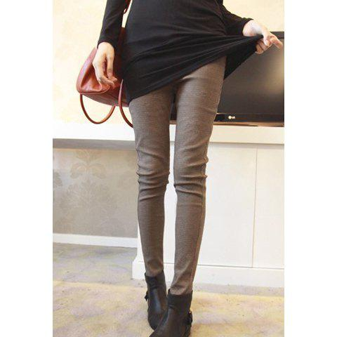 Morden Style Elastic Slimming Warm Thicken Cotton Blend Women's Checked Winters Leggings - KHAKI ONE SIZE