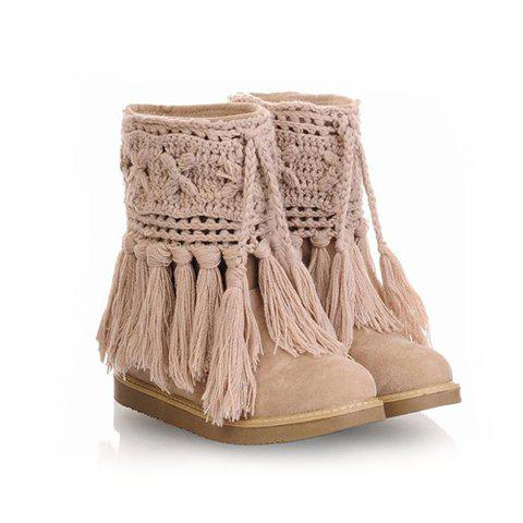 Casual Sweet Solid Color Fingering Yarn Tassels Design Women's Snow Boots - KHAKI 38
