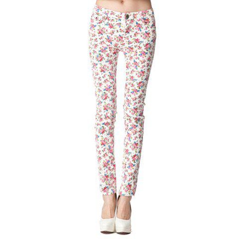 High Elastic Floral Print Trousers For Women - RED 29