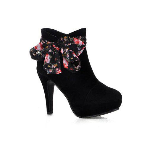 Sweet Splicing and Stiletto Heel Design Women's Ankle Boots - BLACK 34