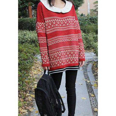 Retro Style Scoop Neck Long Sleeve Wave And Dot Pattern Stripe Sweater For Women - RED