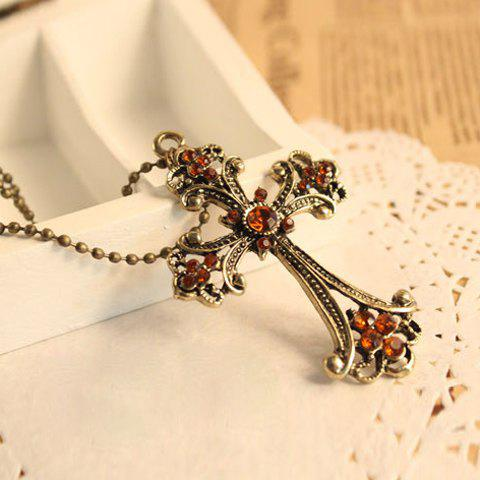 Retro Exquisite Style Cross Shape Rhinestone Embellished Sweater Chain For Women