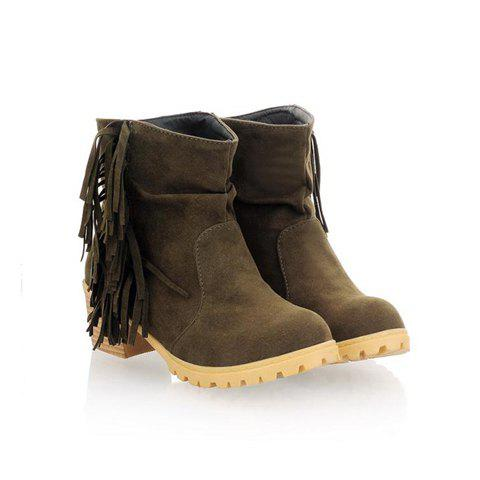 Stylish Casual Tassels and Non-Slip Soles Design Women's Combat Boots - ARMY GREEN 37