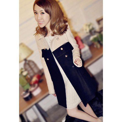 Refreshing Double-Breasted Color Block Long Sleeves Women's Coat - BLACK M