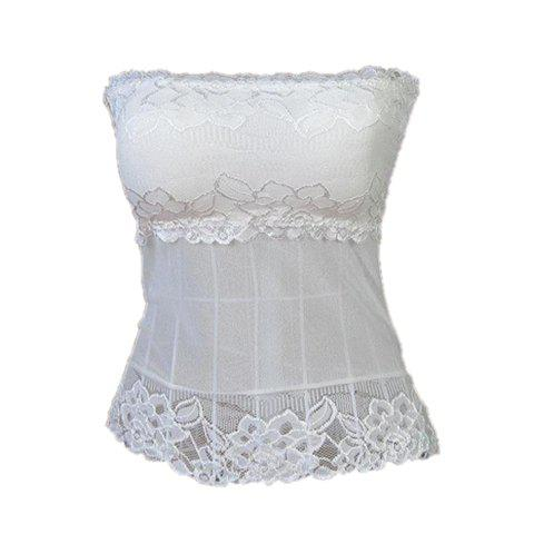 Sexy Style Elastic Voile Splicing With Baldric Lace Women's Bustier - WHITE ONE SIZE