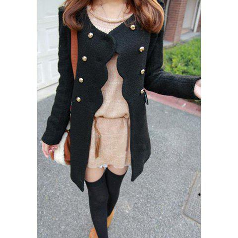 Ladylike Double-Breasted Scoop Neck Solid Color Long Sleeves Women's Coat - BLACK S