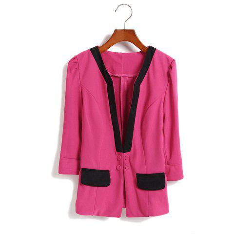 Fashionable V-Neck Color Block Three Quater Sleeves Column Dacron Women's Blazer - ROSE ONE SIZE