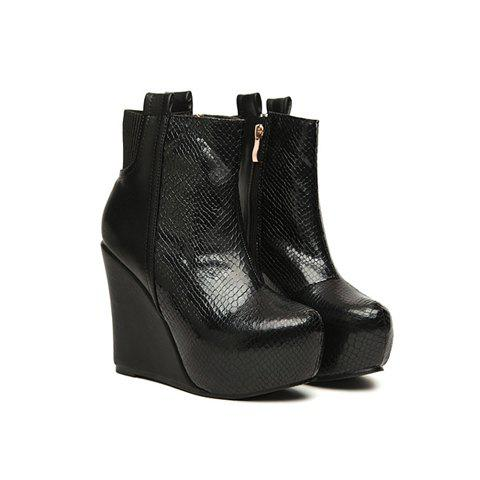 Party Solid Color and Snake Pattern Design Women's Short Boots - BLACK 36